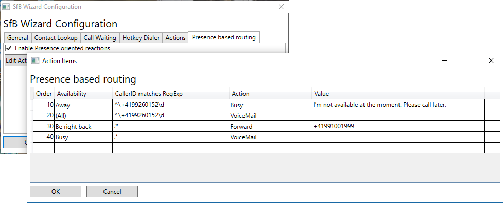 Screen shot presence oriented call handling configuration form